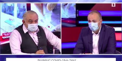 Հարցազրույց ՀՀ առողջապահության նախարար Արսեն Թորոսյանի հետ, 26 հունիսի, 2020թ.։ Լուսանկարը՝ Հանրային հեռուստատեսության տեսանյութից